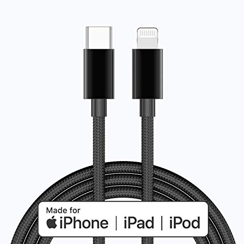 Apple MFi Certified USB C to Lightning Cable 4 FT Charger/Sync for iPhone X/XS/XR/XS Max / 8/8 Plus, (for Use with Type C Chargers) 4FT (Black)