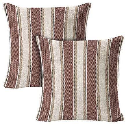 INSHERE 2 PCS Stripe Pillow Case Soft Linen Square Decorative Throw Cushion Cover Farmhouse Pillowcases for Sofa 18 x 18 Inch RED