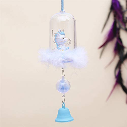FSIGOM Ceramic Unicorn Hanging Wishing Wind Chimes with LED Light,Waterproof Romantic Wind Chime for Home,Party,Festival,Night Garden Decoration Birthday Gift (Blue Unicorn)