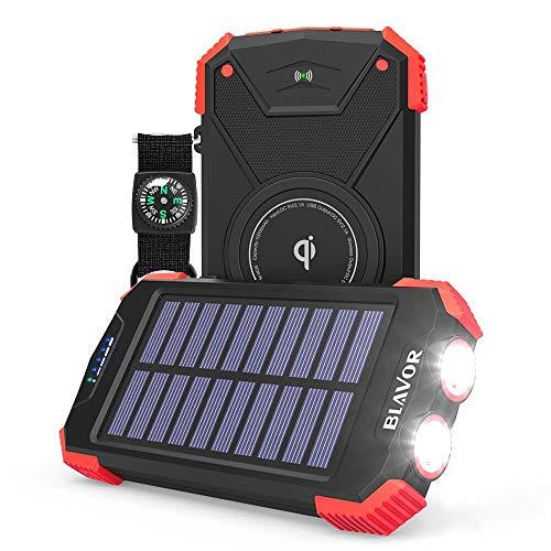 Solar Power Bank, Qi Portable Charger 10,000mAh External Battery Pack Type C Input Port Dual Flashlight, Compass (IPX4 Splashproof, Solar Panel Charging, DC5V/2.1A Input) (Red)