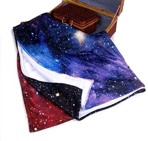 "Qihua Universe Starry Cat Eat Pizza Blanket Velvet Plush Throw Blanket Bed Blankets Super Soft and Cozy Fleece Feeling Blanket for Travelling 58""(Width) x 80""(Length)"