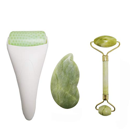 3 in 1 Ficial Face Ice Jade Roller and Gua Sha Tool, 100% Natural Real Jade Anti-Wrinkle Face Eye Neck Massager Tool, Reduce Wrinkles, Puffiness, Migraine, Redness, Pain and Minor Injury,Middle