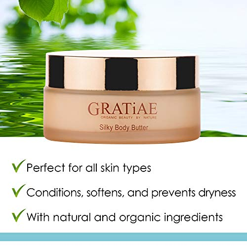 Gratiae organic beauty by nature silky body butter, anti aging skin care shea butter, moisturizer, hydrating stretch mark cream, firming, neck & Décolleté, Apple, Green Tea, and Ginger 5.95Fl.oz