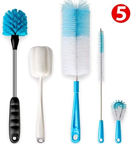 Holikme Bottle Brush Cleaning Set 5Pack,Long Handle Bottle Cleaner for Washing Narrow Neck Beer Bottles, Wine Decanter, Narrow cup,Pipes, Hydro Flask Tumbler, Sinks, Cup cover,Pale Green