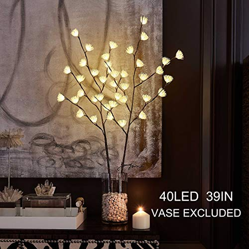 Lighted Brown Willow Twig Branch with Icy Flowers 39in 40 LED Battery Operated and Plug in for Christmas Home Decoration Indoor Outdoor Use String Lights Wire Invisible 2019 New (Vase Excluded)