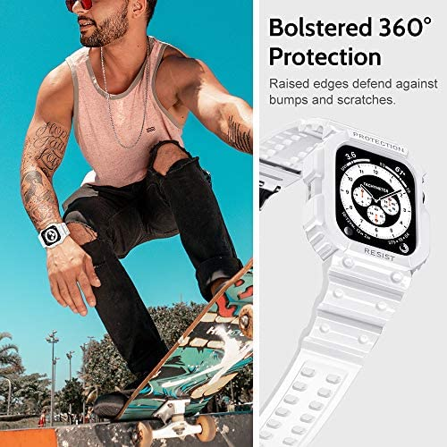 amBand Compatible for Apple Watch Band 44mm 42mm with Bumper Case, Rugged Men Clear Transparent Bands for Apple Watch SE and iWatch Series 6 5 4 3 2 1, Sport Military Protective Cases Protector Drop-Proof
