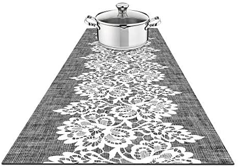 Fennoma Hotrun 2 in 1 Trivet and Decorative Table Runner Handles Heat Up to 356F, Anti Slip, Waterproof, and Convenient for Hot Dishes and Pots (Canvas & Lace)