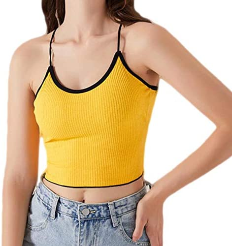 Women's Backless Halter Crop Top - Lace Up Basic Sexy Strappy Sleeveless Racerback Camis(Included Removable Bra Pads Inserts)