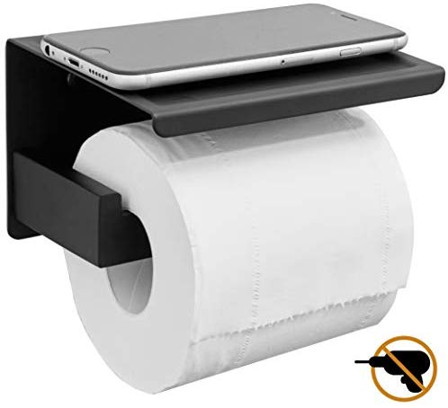 HITSLAM Matte Black Toilet Paper Holder Adhesive, 3M Toilet Paper Holder with Shelf, 3M Adhesive No Drill or Wall-Mounted with Screws for Bathroom & Kitchen