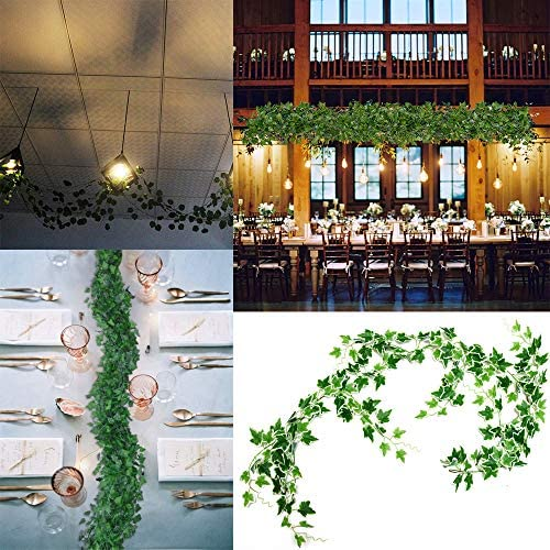 12 Strands Each 2.1m Artificial Ivy Leaf Plants Garland Fake Hanging Leaves Green for Wedding Party Garden Outdoor Greenery Wall Decoration (3, Green)