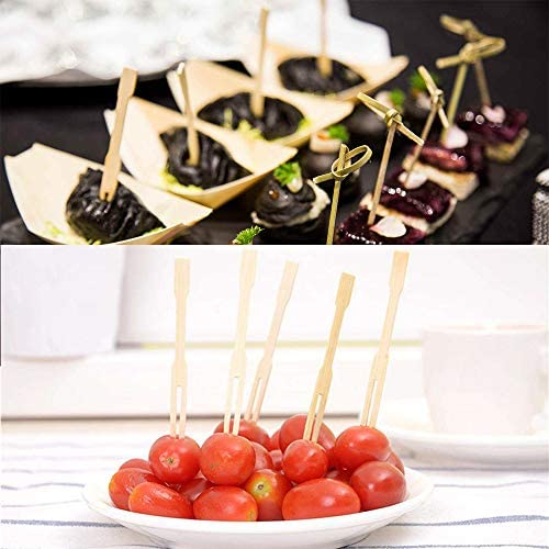 Bamboo Forks-Pack of 110PCS,3.5 Inch Food Picks for Party, Banquet,Buffet,Catering,and Daily Life.Two Prongs-Blunt End Toothpicks for Appetizer,Cocktail,Fruit,Dessert,Barbeque Snacks,Cocktail,Sandwich