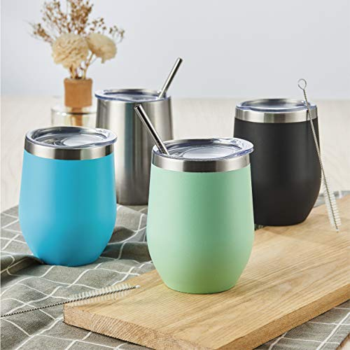 HITSLAM Wine Tumbler 12oz Steel Stemless Tumbler Vacuum Insulated Thermos Double Wall Flask for Cold Drink/Hot Beverage includes Straw Lid, straw, Cleaning Brush, Non-slip coaster