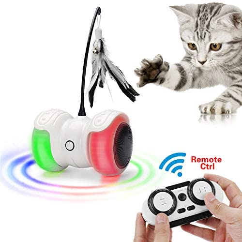 Remote Interactive Robotic Cat Toys,Automatic and Manual Control Irregular USB Rechargeable Electronic Kitty Toy,360 Degree Self Rotating Kitten Car,Build-in Colorful Led Light,Large Capacity Battery