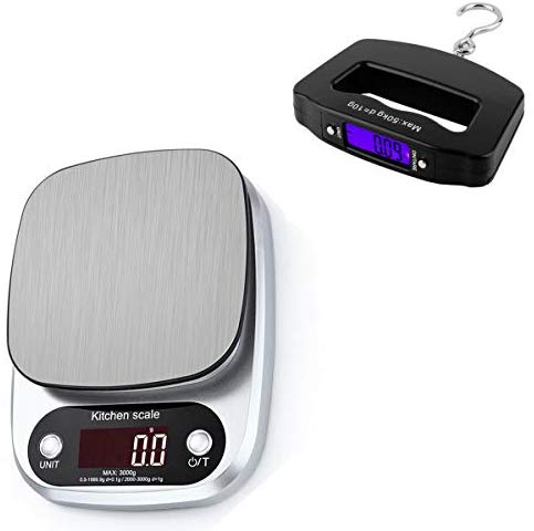 Food Scale and Luggage Scale Kit,Jubilcuis Digital Kitchen Scale for Baking and Cooking, Food Weight Scale Grams and Ounces, 3kg 0.1 Jewelry Powder Gram Scale with LCD Display