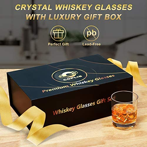 Whiskey Glasses 11 OZ Rocks Glasses With Luxury Box,Set of 6 3 styles Crystal Old Fashioned Whiskey Glasses  Perfect for Whiskey Lovers, Durable Glasses for Scotch, Bourbon, Cocktail