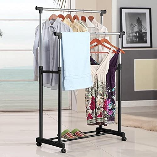 Double Rod Garment Rack Portable Adjustable Bedroom Clothing Hanging Rack with Castors