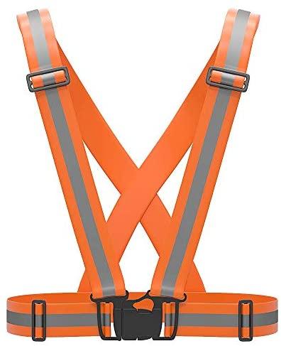 DaoKent Reflective Vest Running Belt Gear for Men, Safety Vest Outdoor Reflective Belt High Visibility Vest for Night Cycling Walking Jogging Motorcycle Dog Walking