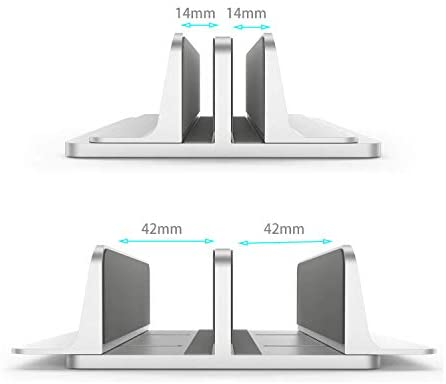 Double Adjustable Vertical Laptop Stand Newly Designed 2 Slots Aluminum Desktop Dual Holder (Up to 17.3 inch), Fits All MacBook/Surface/Samsung/HP/Dell/Chrome Book Silver