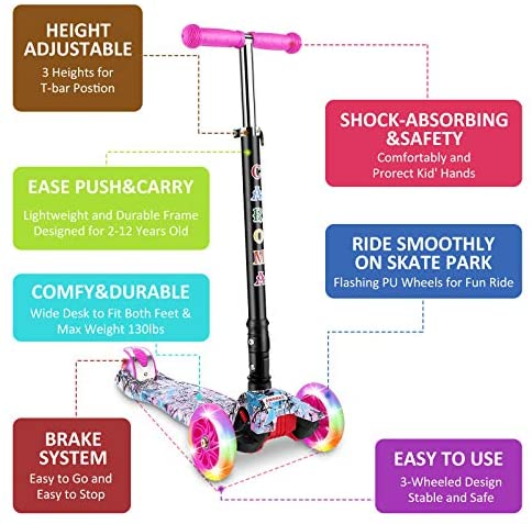 3 Wheel Kick Scooter for Kids & Toddlers Girls and Boys, 3 Adjustable Height, 3 PU LED Flashing Wheels with Aluminum Alloy T-Bar Scooter for Kids Age 2-12 yrs Old