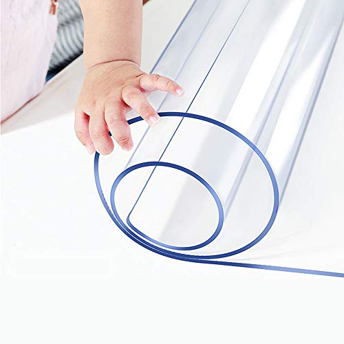Multisize 1.5mm Thick Clear PVC Table Cover Blotter Protector 12x36 Inch Rectangular Plastic Tablecloths Desk Pad Mat for Office Computer Desk Side Night Stand End Table Topper Protector PVC