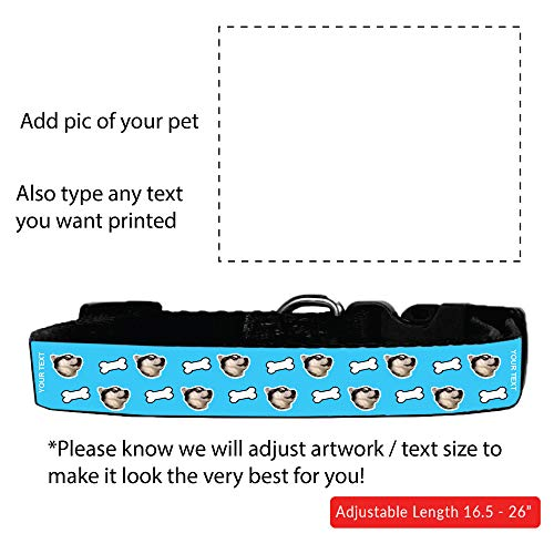 "M&R Custom Personalized Adjustable Dog Collar (16.5-26"") Add Your Pet's Face! + Free Bandanna Gift"