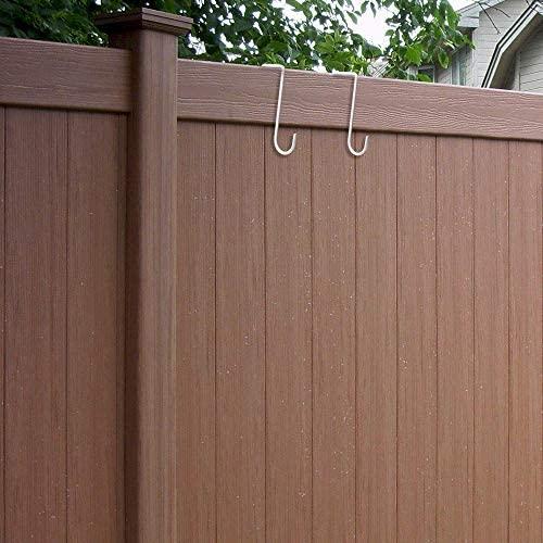 "Vinyl Fence Hooks Hangers Patio Light Hooks 2""X 6"" Powder Coated Rustproof Steel Hangers for Hanging on Top of 2"" Wide Vinyl Fences (6 Pack)"