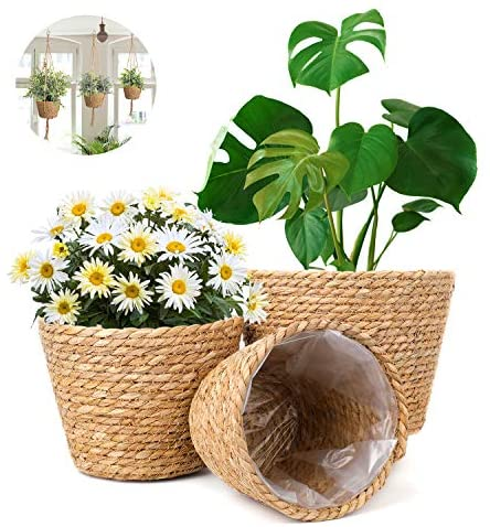 LIBWYS Seagrass Basket Planters Pack of 3 Flower Pots Cover with 3 Hanging Ropes Indoor Outdoor Hanging Planter Baskets with Leak-Proof Plastic Lining