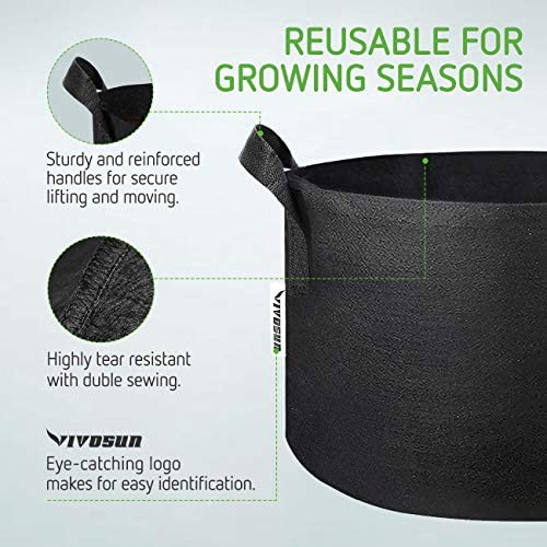 VIVOSUN 5-Pack 25 Gallon Plant Grow Bags, Premium Series 300G Thichkened Non-Woven Aeration Fabric Pots w/Handles - Reinforced Weight Capacity & Extremely Durable (Black)