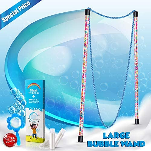 Giant Bubbles Kit: Complete Fun Bubble Making Set with Long, Flexible, Corded Dual Wand, Mixing Powder for 2.5 Gallons, and Free Mini-Hoop + Free Mixing Powder 2.5 Gallons