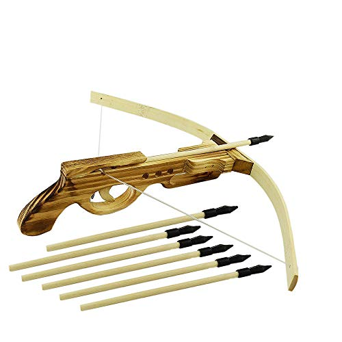 SUNNYHILL Wooden Handgun Type Toy Crossbow with 10 Arrows for Outdoor Play