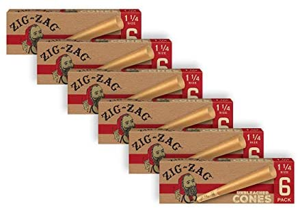 Zig-Zag Pre Rolled Cones Unbleached 1 1/4 (6 Packs of 6 Cones) and a Small Zig-Zag Rolling Tray