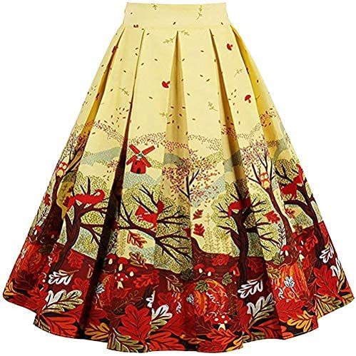 Mo Shang Women's Jacquard High Waist A Line Skirt Floral Printed Pleated Midi Skirts with Pockets