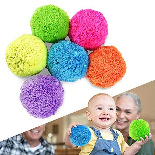 Fleece Soft Neon Ball Set, Moves Slow Easy to Catch, Don't Have to Chase, Great Sport for Kids and Older Adults, Gain Fun and Confidence, 4 Inch