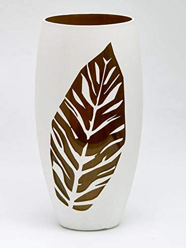 Bright Stroke 11.8 Inch Tall Round Hand Painted Decorative Glass Vase with Leaf Design