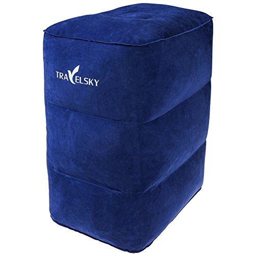 Air Travel Leg Rest Pillow, Camping Pillows, Inflatable Pillow, Fast Inflated Design, Flocking Fabric Footrest Pillow for Resting Feet and Children Sleeping in Car/Plane, VanFn Travelsky Series