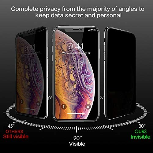 Privacy Screen Protector for iPhone 11 Pro Max and Xs Max Anti-Spy Tempered Glass Cover 9H Hardness Easy Install
