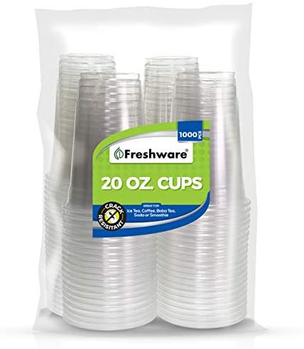 Freshware Plastic Cups [20 oz, 1000-PCS] - Disposable Cold Drink Party Soda Cups, Crystal Clear PET Cups