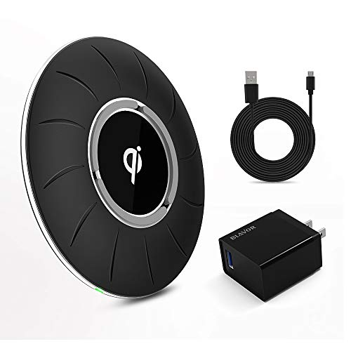BLAVOR Qi-Certified Wireless Charger Fast Charging Pad 10W/7.5W/5W Compatible with All Qi-Enabled Phones(QC 3.0 Adapter and 4.9ft Charging Cable)