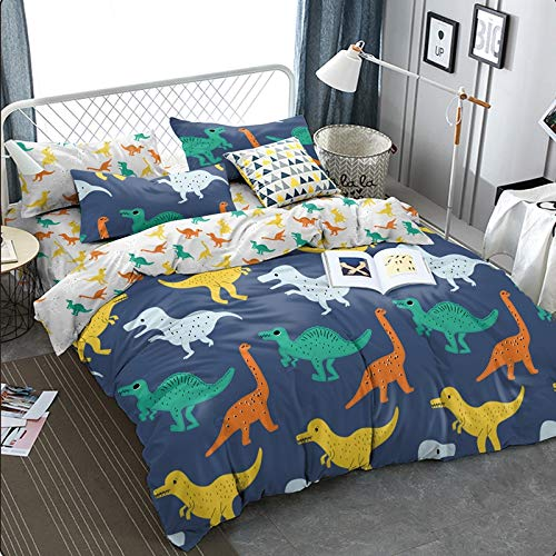 "KFZ Dinosaurs Pattern Ultra Soft Duvet Cover Set, 3PCs Queen Size with 1 PC 90""x90"" Duvet Cover (Without Comforter Insert) and 2 PCs 20"" x30 Pillow Cases for Teen Boys and Girls"
