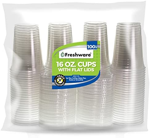 Freshware Plastic Cups with Lids [16 oz, 100-Pack] - Disposable Cold Drink Party Cups, Crystal Clear PET Cups