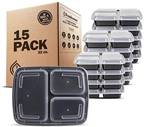 Meal Prep Containers [15 Pack] 3 Compartment with Lids, Food Containers, Lunch Box | BPA Free | Stackable | Bento Box, Microwave/Dishwasher/Freezer Safe, Portion Control, 21 day fix (32 oz)