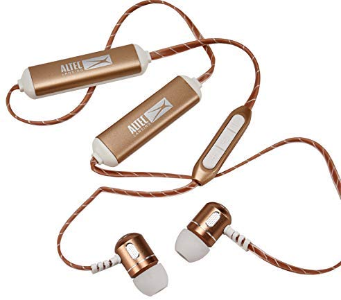 Altec Lansing MZX148 Bluetooth Metal Earphones with 30 Foot Wireless Range, Up to 5 Hours of Battery Life, Built-in Microphone and Voice Assistant (Gold)