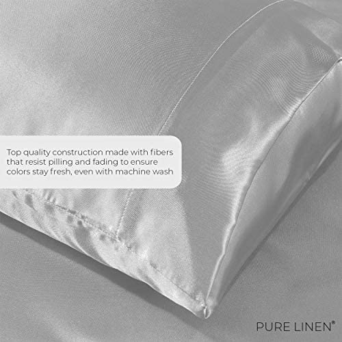 Pure Bedding Satin Pillowcase King [2-Pack, White] - Hotel Luxury Silky Pillow Cases for Hair and Skin - Extra Soft 1800 Double Brushed Microfiber Pillow Covers