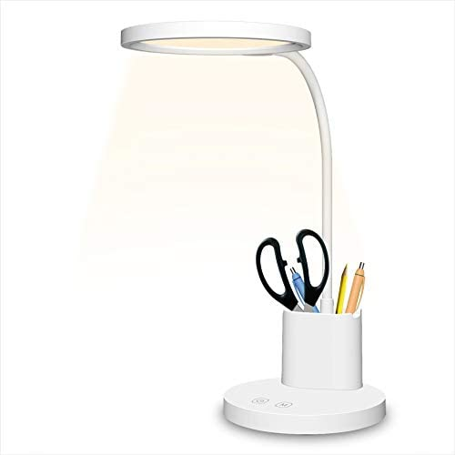 Rechargeable LED Desk Lamp, Touch Control Table Lamps with Flexible Gooseneck, Pen Holder, Memory Function, Comzler Dimmable Reading Table Lamp with 3 Color Temperature Mode(Battery Included)