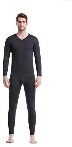 XGDong Men's Thermal Underwear Set Fleece Lined Long Johns Winter Base Layer Top & Bottom Set