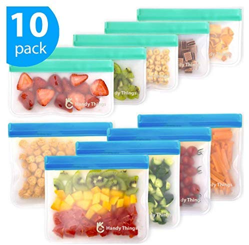 Reusable Storage Bags - 10 Pack Leakproof Freezer Bag (5 Reusable Sandwich Bags & 5 Reusable Snack Bags) - Extra Thick BPA Free Reusable Ziplock Bag for Kid Food Storage Home Travel Organization