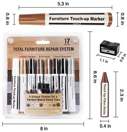 Furniture Repair Kit Wood Markers, EastDeals Markers and Wax Sticks with Kit, for Stains, Scratches, Wood Floors, Tables, Desks, Carpenters, Bedposts, Touch Ups, and Cover Ups(17pcs)