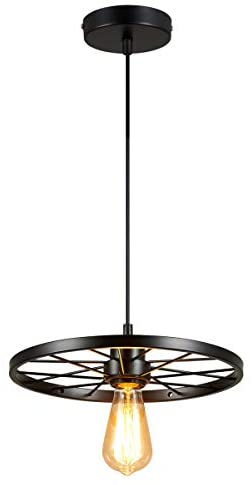 Shung YU Vintage Loft Hanging Light Fixture, Industrial EdisonWheel Pendant Light Wrought Rustic Art Decor for Living Room Bar Kitchen Island Restaurant Cafe(Matte Black)