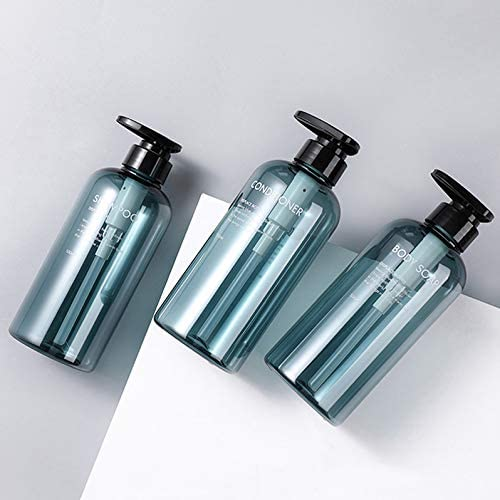homyhomi Pump Lotion Bottles, 3 PCS Plastic Pump Bottle Dispenser 16.9oz/500ml Empty Refillable Lotion Pump Bottle Set for Body Soap Shampoo Conditioner Lotion Dispenser with Pump-Blue (Blue, 500ml)