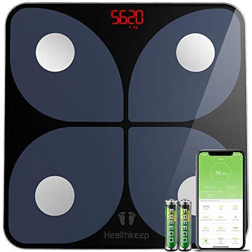 Scales for Body Weight, Weight Scales, Digital Scales Bathroom , Bluetooth BMI Body Composition Monitor, Samsung, iOS, Andriod System, 396 lbs in 0.2 lb increments, Batteries Included, Large Size